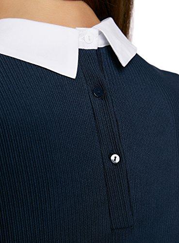oodji Ultra Mujer Jersey con Cuello e Inserciones Decorativas Azul (7900N)