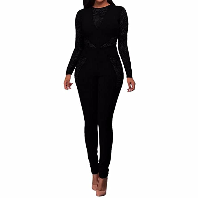 af6102b5488f Amazon.com  Women Long Sleeve Lace Bodycon Jumpsuits Pencil Skinny Pants  Cocktail Romper  Clothing