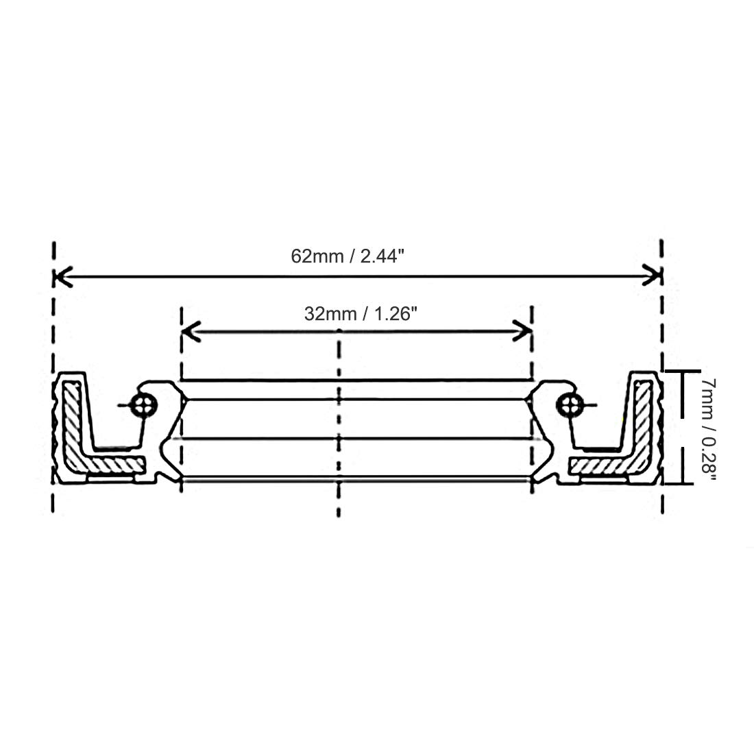Uxcell Nbr Tc 25mm X 35mm 7mm Metal Spring Double Lip Oil Shaft Wiring Diagram A12042800ux0137 Seal