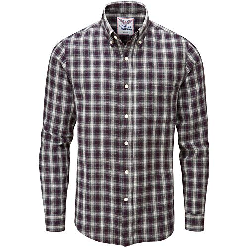 (Charles Wilson Men's Long Sleeve Checked Flannel Shirt (X-Large, Port & Grey))