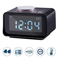 Lyker Digital Alarm Clock FM Radio Loud Alarm Clock Alarm Clock Radio for Heavy Sleepers with Dual Alarm Clock,AUX in and Dual USB Charging Ports,LCD Digit Display with Dimmer,Radio Alram Clock