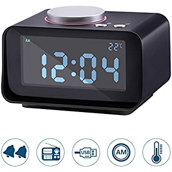 Lyker Digital Alarm Clock, FM Radio Loud Alarm Clock, Alarm Clock Radio for Heavy Sleepers with Dual Alarm Clock,AUX in And Dual USB Charging Ports,LCD Digit Display with Dimmer,Radio Alram Clock