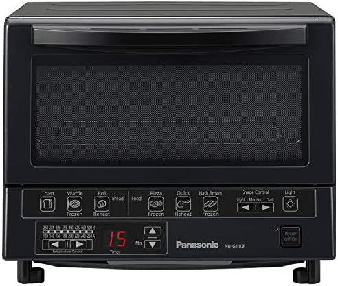 Panasonic FlashXpress Compact Toaster Oven with Double Infrared Heating, Crumb Tray and 1300 Watts of Cooking Power – 4 Slice Countertop Toaster Oven - NB-G110P-Ok (Black)