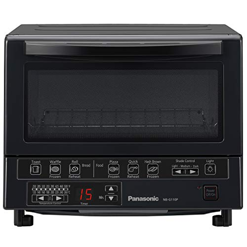 Panasonic FlashXpress Compact Toaster Oven with Double Infrared Heating, Crumb Tray and 1300 Watts of Cooking Power - 4 Slice Countertop Toaster Oven - NB-G110P-K (Black)