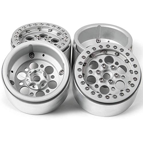 RCLIONS Aluminum Alloy 2.2inch Beadlock Wheel Rim for 1/10 Scale Crawler RC Car Wraith -Pack of 4pcs (Silver)