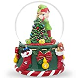 BestPysanky 6 Inch Elf Christmas Tree Snow Globe Musical Box