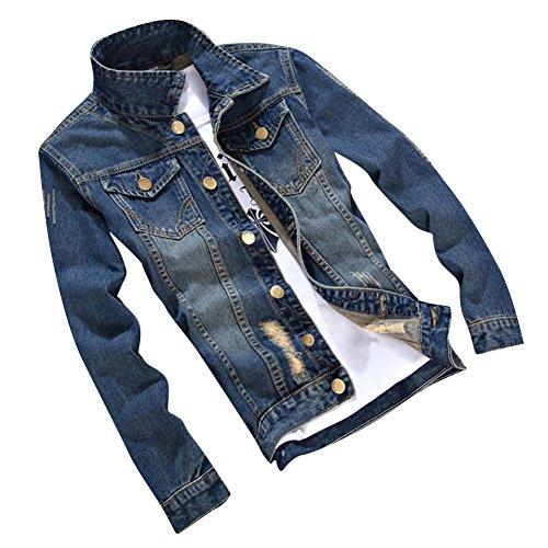 Hombre 2206 Larga Vaquera Fit Chaqueta Jacket Manga Outwears Slim Mezclilla De Denim rwUqFrP