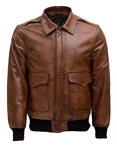 Air Force Bomber Leather Jacket - Men's Air Force A-2 Flight Bomber Cowhide Leather Jacket - Brown Wax (XL/Body Chest = 44
