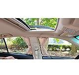 MAZIMARK--50X39cm Beige VIP CAR WINDOW CURTAIN SUNSHADE UV PROTECTION 50S Universal