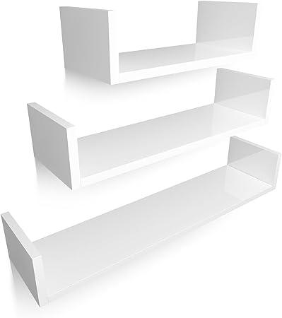 【Estable y resistente】: Las 3 estanterías pared están hechos de E1 MDF con un grosor de 18mm de muy