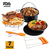 : Deep Fryers Universal Air Fryer Accessories Including Cake Barrel,Baking Dish Pan,Grill,Pot Pad, Pot Rack with Silicone Mat by Bellagione (7 Pcs)