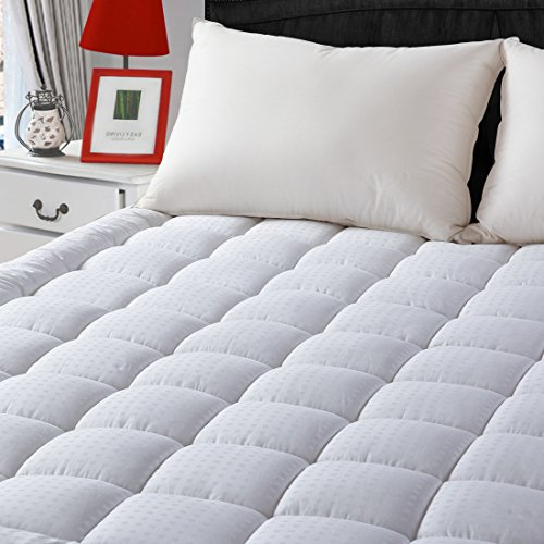 "Queen Fitted Quilted Mattress Pad Cover 8-21""Deep Pocket-Down Alternative Mattress (Quilted Top Bedding)"