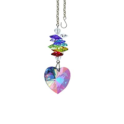 Crystal Suncatcher 3 inch Crystal Ornament Aurora Borealis Faceted Heart Prism Colorful Cascade Prisms Rainbow Maker Made with Genuine Swarovski Crystals: Home & Kitchen