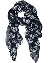 Punk Pirate Skull Chiffon Scarf (Black)