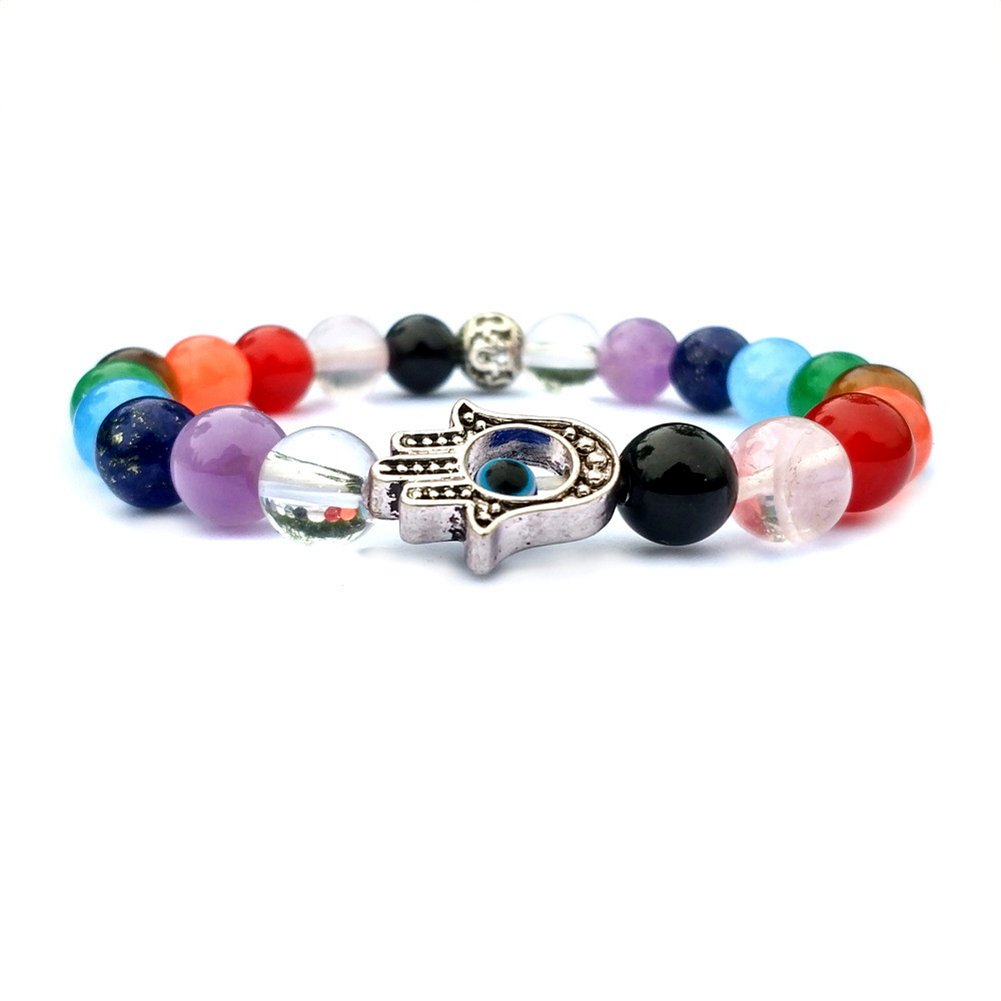 SIVITE 7 Chakra Natural Stone Beads Bracelet Fatimas Hand Yoga Meditation Healing Balance Energy Bracelet