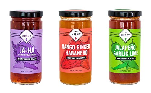 Mrs. G's Hot Pepper Jelly 3-Pack: Jalapeno-Habanero Jelly, Jalapeno Garlic Lime Jelly, and Mango Ginger Habanero Jelly. Locally sourced and packaged in Southern California.