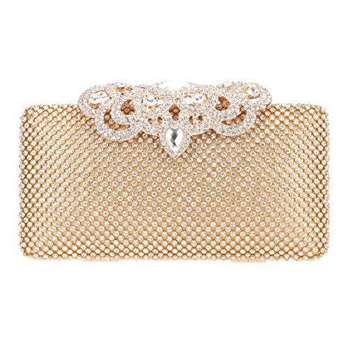 Fawziya Crown Crystal Clutch Hardshell Evening Clutches For Wedding And Party-Gold