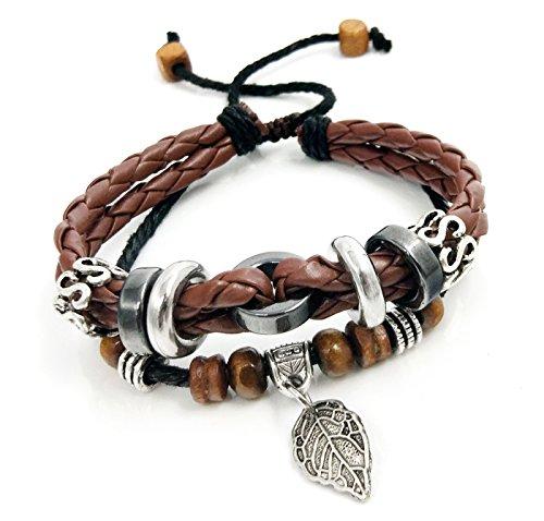 (Suyi Multilayer Adjustable Leather Woven Braided Bangle Cross Bracelet Leaf Wrist Cuff Wristband Lcoffee)