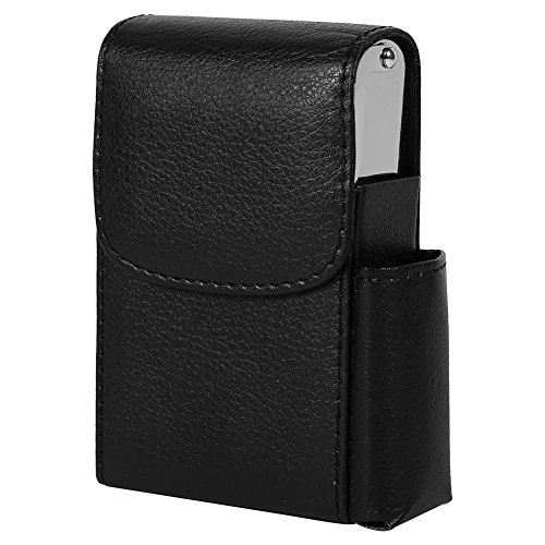 (Fdit PU Leather Cigarette Box Case with Pouch Lighter Holder Cigarette Case Wallet Design for Men and Women Unisex(Black))