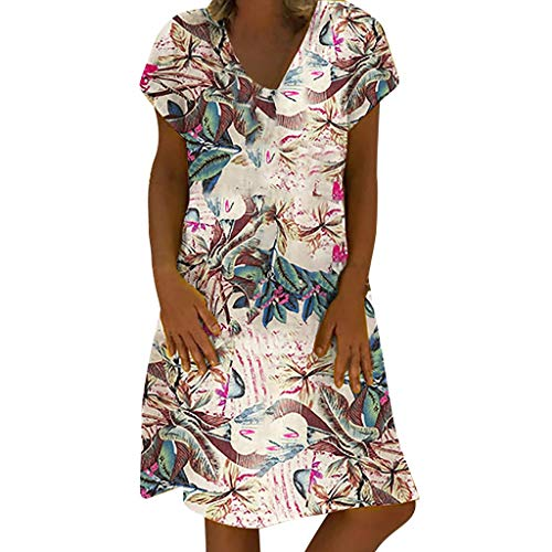 LENXH Ladies Floral Dress Cotton and Linen Dress Short-Sleeved Beach Skirt Summer V-Neck Dress Pink