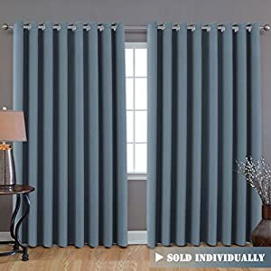 """Premium Room Divider (Nobody Can See Through, 9' Tall x 8.5' Wide), Blackout Curtain Panels, Extra Long and Wide Thermal Insulated Patio Curtains -100""""W by 108""""L- Stone Blue - by H.Versailtex"""