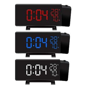 Vosarea Reloj Despertador LED Radio Reloj de proyección Digital con medición de Temperatura y Humedad: Amazon.es: Electrónica