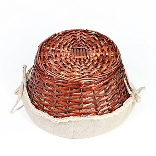 OYPEIP(TM)Father's Day Gift Basket Traditional Fashion Basket Kids Gift Basket Woven Willow Round Wicker Storage Basket With One Drop Down Handle Fabric Cotton Linen For Office, Bedroom, Closet, Toys by KRZIL (Image #5)