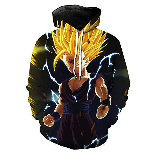 Dragon Ball Z Pocket Hooded Sweatshirts Goku 3D Print Hoodies (L, Purple)