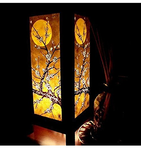 Moon Sakura Table Lamp Lighting Shades Floor Desk Outdoor Touch Room Bedroom Modern Vintage Handmade Asian Oriental Wood Bedside Gift Art Home Garden Christmas; Free Adapter; Us 2 Pin Plug - Optical Shop Furniture Design