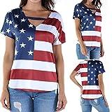 Bloomn Womens Shirts Code Fashion Loose Star Striped American Flag Short Sleeve Print Red