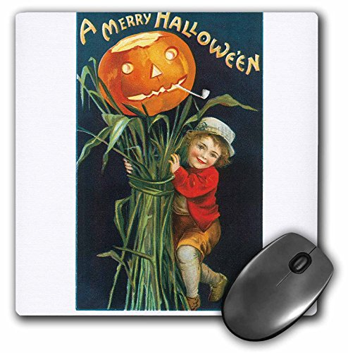 3dRose BLN Vintage Halloween - Vintage A Merry Halloween with a Young Boy with Corn Stalks and a Pumpkin - MousePad (mp_126102_1) -