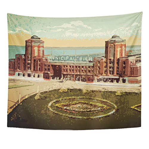 Semtomn Tapestry Artwork Wall Hanging Municipal Navy Pier Chicago Watercolor Windy City 50x60 Inches Tapestries Mattress Tablecloth Curtain Home Decor Print]()