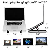 "Laptop Stand, Klearlook Foldable Computer Stand for Laptop 11"" to 17.3"" Screen, Aluminum Cooling Portable Adjustable Stand, Laptop Riser for PC Notebook"