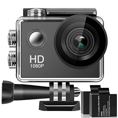 Action Camera, 1080P HD Waterproof Sports Cam 2 Inch LCD Screen , 140 Degree Wide Angle Lens , 98ft Underwater DV Camcorder With 2 Rechargeable Batteries and 9 Accessory Kit Ectreme