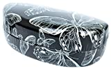 Colorful Hard Shell Eyeglass Sunglass and Gadgets Case, Hard Clamshell Protective Glasses Case for Men and Women - Silver Butterfly (Microfiber Cleaning Pouch Included)