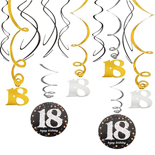18th Happy Birthday Swirls Foil Gold Black Silver Streamers Party Hanging Decoration Cheers to 18 Years Old Bday Anniversary - 40'' x 12 pcs. -