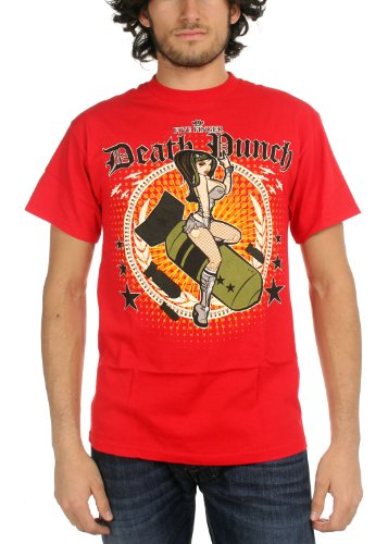 Bravado Girls T-shirt (Five Finger Death Punch - Bomber Girl Mens T-Shirt In Red, Size: Medium, Color: Red)