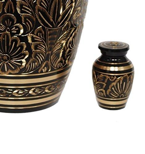 MEMORIALS 4U Solid Brass Golden Etched Token Urn - Elite Golden Aura Keepsake Urn for Human Ashes - Beautifully Handcrafted Adult Funeral Urn - Mini Keepsake Urn for Human Ashes
