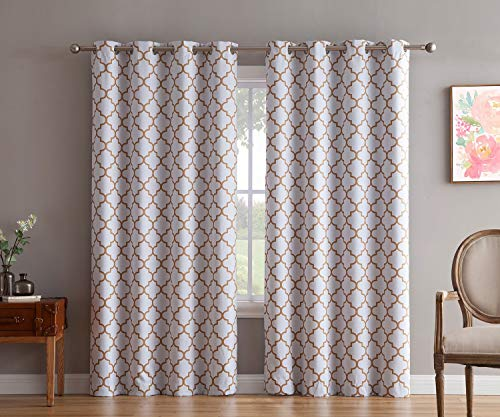 - HLC.ME Lattice Print Thermal Insulated Blackout Room Darkening Grommet Top Window Curtain Panels for Kids Room - Platinum White/Gold - 52
