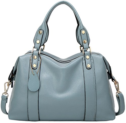 Handbag Satchel Blue Bags Leather PU Shoulder for Bag Handle Top Tote Kenoor Women qta41n