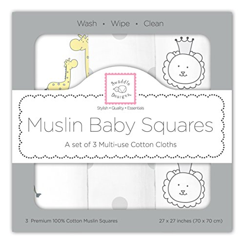 SwaddleDesigns Cotton Muslin Squares, Set of 3, Sterling Jungle Friends - Little Giraffe Muslin