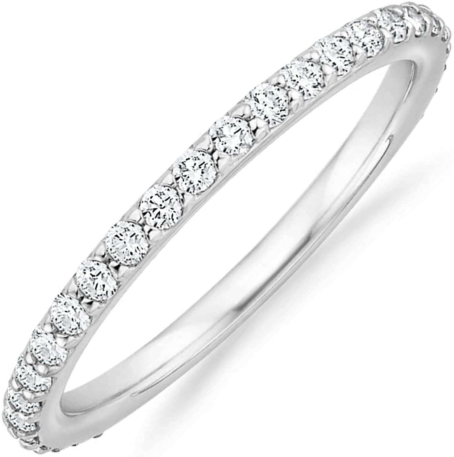 PAVOI 14K Gold Plated Cubic Zirconia Diamond Stackable Eternity Bands for Women: Clothing