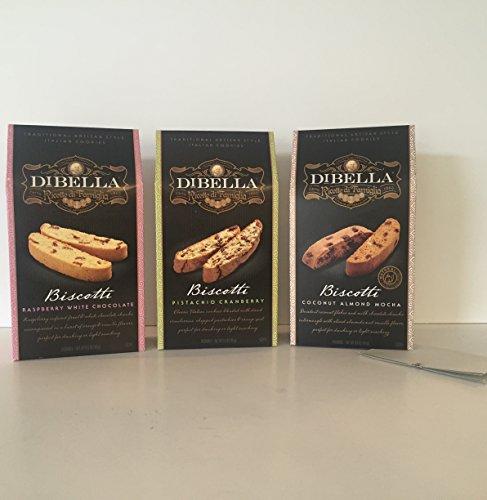 DiBella Gourmet Traditional Artisan Style Italian Biscotti Cookies Variety Bundle: 1-Raspberry White Chocolate 1-Pistachio Cranberry 1-Coconut Almond + a Bonus Zee Organic Sweet Coffee Recipe-3+ Items