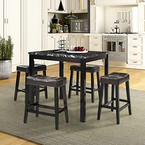 LOKESI Kitchen Table Set, 5 Pieces Faux Marble Top Counter Height Dining Table Set with 4 Stools (Black)