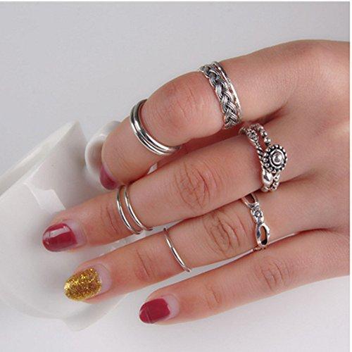 Turco Plata Natural turquesa dedo uñas Knuckle anillos de aleación de hojas de Midi