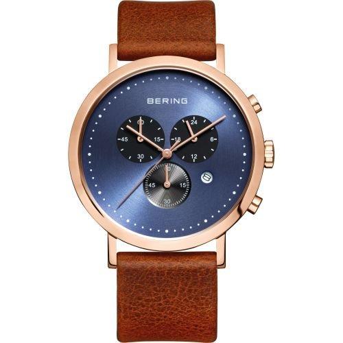 BERING Reloj Analógico para Hombre de Cuarzo con Correa en Cuero 10540-467: Amazon.es: Relojes