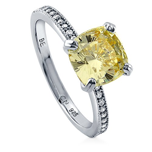 Canary Solitaire Ring - BERRICLE Rhodium Plated Sterling Silver Canary Yellow Cushion Cut Cubic Zirconia CZ Solitaire Engagement Ring 3.11 CTW Size 4