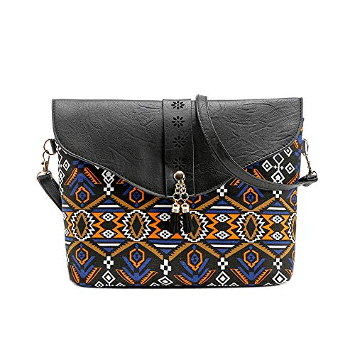 Trekking Hand Art - Fashion Women Flower Print Handbags Bag Sweet Pattern Shoulder Bag,Outsta Messenger Purse Cosmetic Bag Classic Casual (Black)