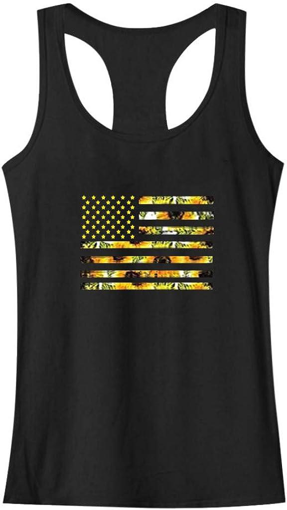 Ghazzi Womens Tank Tops Sunflower Print American Flag O-Neck Vest Top Summer Casual Racerback Loose Sleeveless Tank Tops