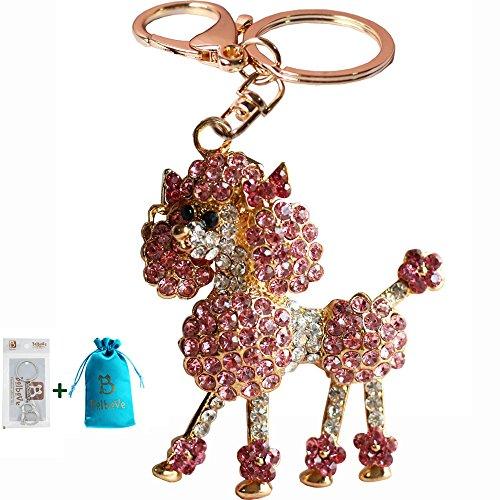 Bolbove Cute Flower Poodle Keychain Sparkling Keyring Crystal Rhinestones Purse Pendant Handbag Charm